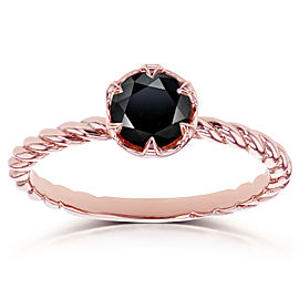 Black Diamond Twisted Solitaire Ring 1/2 CTW in 14k Rose Gold
