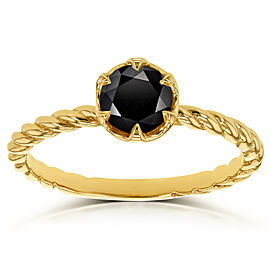 Black Diamond Twisted Solitaire Ring 1/2 CTW in 14k Yellow Gold