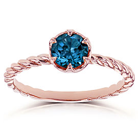 London Blue Topaz Twisted Solitaire Ring 1/2 CTW in 14k Rose Gold