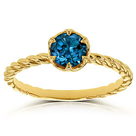 London Blue Topaz Twisted Solitaire Ring 1/2 CTW in 14k Yellow Gold