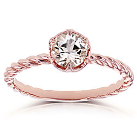 Morganite Twisted Solitaire Ring 1/2 CTW in 14k Rose Gold
