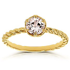 Morganite Twisted Solitaire Ring 1/2 CTW in 14k Yellow Gold