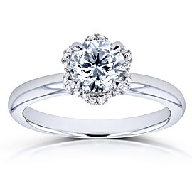Diamond Wavy Halo Floral Engagement Ring 7/8ct TDW in 14k White Gold