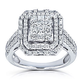 Rectangular Frame Diamond Cluster Ring 1ct TDW in 14k White Gold
