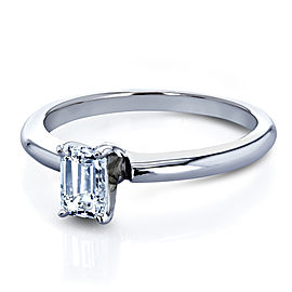 Solitaire Emerald Cut 1/2 Carat Diamond Engagement Ring in 14k White Gold