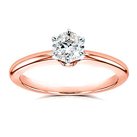 Round Diamond Solitaire Petite Engagement Ring 1/2 Carat in 14k Rose Gold
