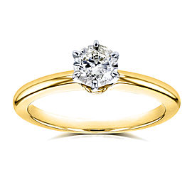 Round Diamond Solitaire Petite Engagement Ring 1/2 Carat in 14k Yellow Gold