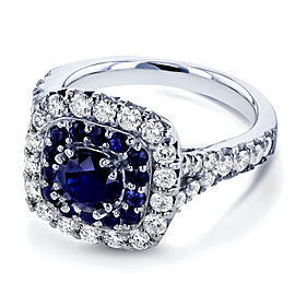 Sapphire and Diamond Double Halo Ring 14k White Gold (1 7/8 CTW)