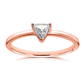 Solitaire 1/6 Carat Triangular Diamond Petite Ring in 14k Rose Gold