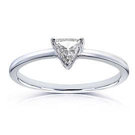 Solitaire 1/6 Carat Triangular Diamond (HI/SI) Petite Ring in 14k White Gold