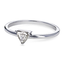 Solitaire 1/6 Carat Triangular Diamond Petite Ring in 14k White Gold