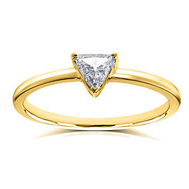 Solitaire 1/6 Carat Triangular Diamond Petite Ring in 14k Yellow Gold