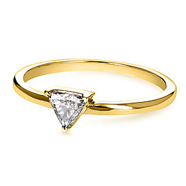 Solitaire 1/6 Carat Triangular Diamond (HI/SI) Petite Ring in 14k Yellow Gold