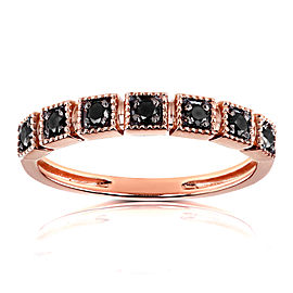 Black Diamond Wedding Ring 1/6ct TDW in 10k Rose Gold