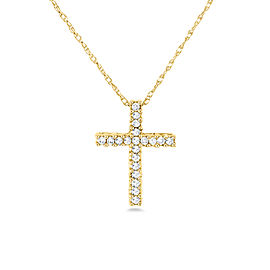 Diamond Cross Necklace 1/10 Carat TDW Shared Prongs in 10k Gold - yellow-gold