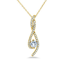 Diamond Ribbon Necklace 1/2 Carat TDW in 10k Gold - yellow-gold