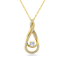 Diamond Looping Pendant and Chain 1/4ct TDW in 10k Gold - yellow-gold