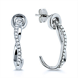 Diamond Curve Hook Earrings 1/5ct TDW in 10k Gold - white-gold