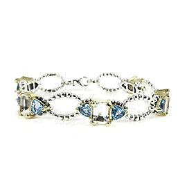 Lagos Sterling Silver 18K Yellow Gold Blue Topaz Trillion White Topaz Glacier Delta Bracelet