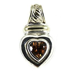 David Yurman Sterling Silver 14K Yellow Gold Citrine Heart Enhancer