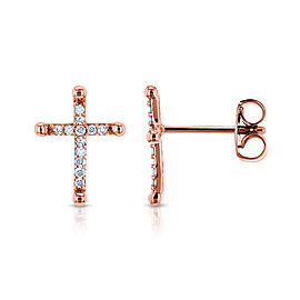 Religious Diamond Cross Earrings 1/8 CTW 10k Rose Gold