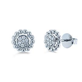 Round Diamond Cluster Flower Stud Earrings 1/8 CTW 10k White Gold
