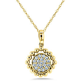 Diamond Cluster Gold Reef Necklace 10k Yellow Gold (1/6 CTW)