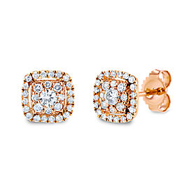 White Diamond Halo Stud Earrings 1/3 CTW 14k Rose Gold