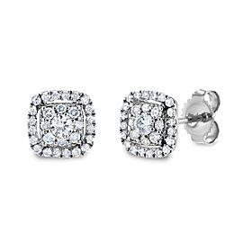 White Diamond Halo Stud Earrings 1/3 CTW 14k White Gold