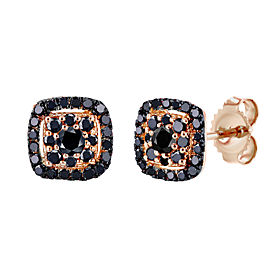 Black Diamond Halo Stud Earrings 1/3 CTW 14k Rose Gold