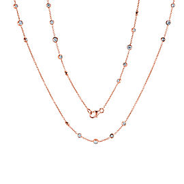 Diamond 30 Inch Station Necklace 1 2/5 CTW 14k Rose Gold