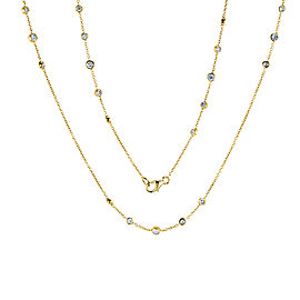 Diamond 30 Inch Station Necklace 1 2/5 CTW 14k Yellow Gold