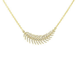 Diamond Feather Necklace 2/5 CTW 14k Yellow Gold