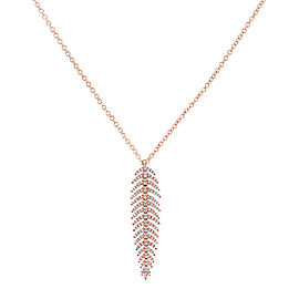 Diamond Dangle Feather Necklace 2/5 CTW 14k Rose Gold