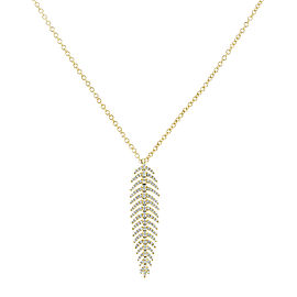 Diamond Dangle Feather Necklace 2/5 CTW 14k Yellow Gold