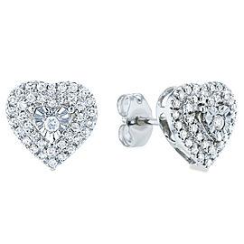 Cluster Diamond Heart Stud Earrings 1/4 CTW 10k White Gold