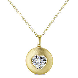 Diamond Accented Heart Tag Necklace, 10k Yellow Gold, 18in