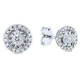 Cluster Diamond Round Illusion Set Stud Earrings 1/4 CTW 10k White Gold