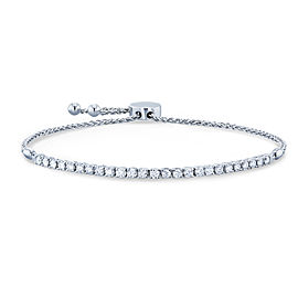 "Diamond Bolo Strand Bracelet 1 CTW 14k White Gold, Fully Adjustable Length, 9.75"" Extended"