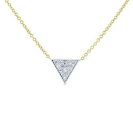 White Gold Triangle Diamond Necklace Yellow Gold Chain