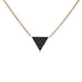 Triangle Black Diamond Necklace 14k Rose Gold