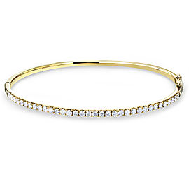 Hinged Diamond Bangle Standard Medium 60mm x 50mm 1 CTW 10k Yellow Gold