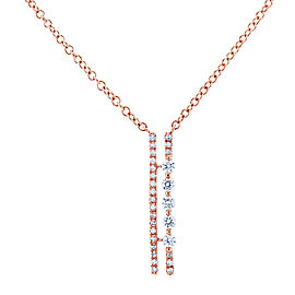 Diamond Parallel Drop Necklace 1/6 CTW 10k Rose Gold, 18in Chain