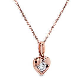 Solitaire Embedded Diamond Heart Necklace 10k Rose Gold