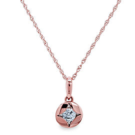 Solitaire Embedded Diamond Star Necklace 10k Rose Gold
