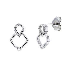 White or Rose Gold Geometric Diamond Earrings - white-gold