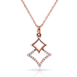 Rhombus Geometric Diamond Necklace 10k Rose Gold, 18 Inch