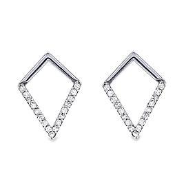 White or Rose Gold Geometric Kite Diamond Earrings - white-gold
