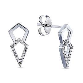 Diamond Kite Arrow Earrings 10k Gold - white-gold