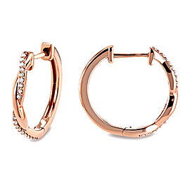 Braided Diamond Hoop Earrings 1/6 Carat 10k Rose Gold